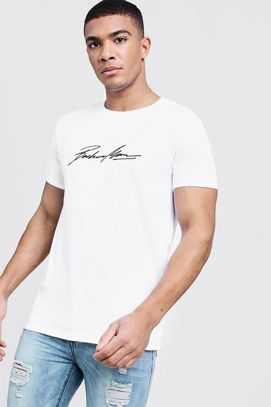 White MAN Autograph Embroidered T-Shirt