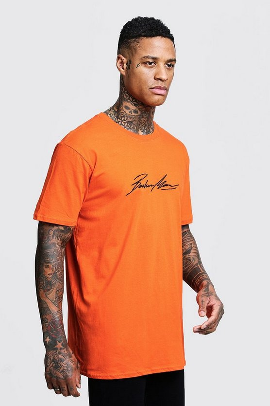 T-shirt oversize brodé MAN Autograph, Orange, Homme