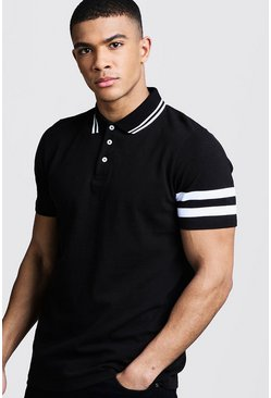 Mens Black Pique Polo With Sleeve Stripe Detail