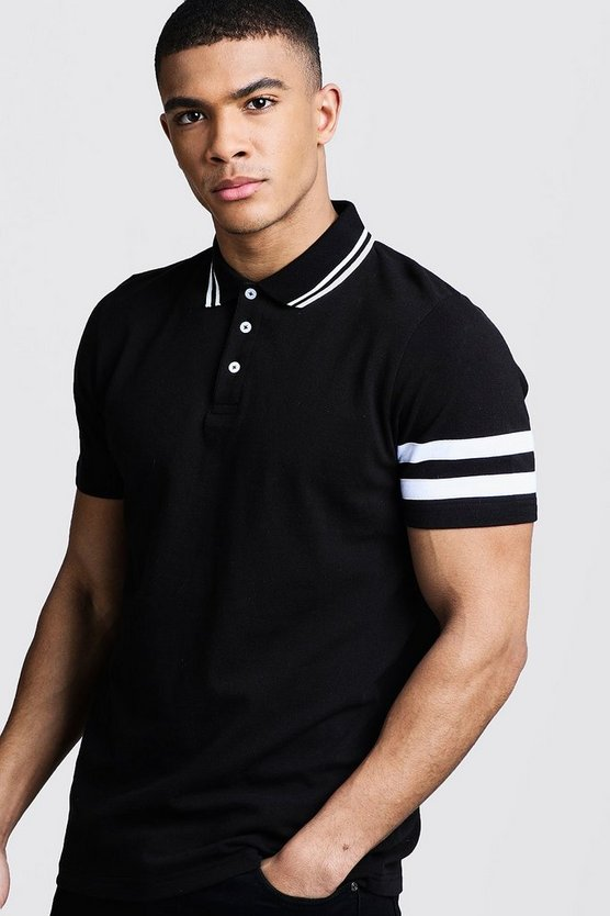 Pique Polo With Sleeve Stripe Detail