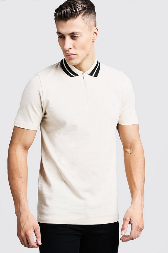 Pique Zip Through Polo With Stripe Collar