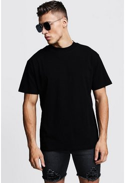 T-shirt coupe ample à col allongé, Noir, Homme