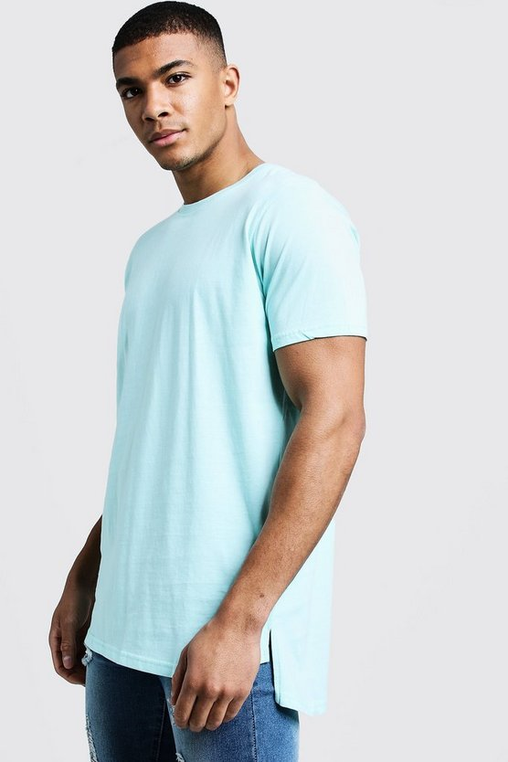 Mens Aqua Longline Stepped Curved Hem T-Shirt