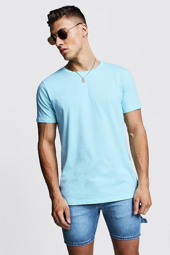 Longline Stepped Curved Hem T-Shirt