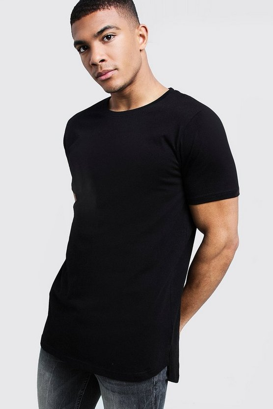 Black Longline Stepped Curved Hem T-Shirt