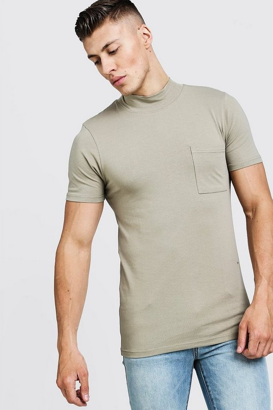 Mens Taupe Muscle Fit T-Shirt With Extended Neck