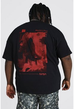 Black Plus Size Nasa Layered Launch License T-shirt