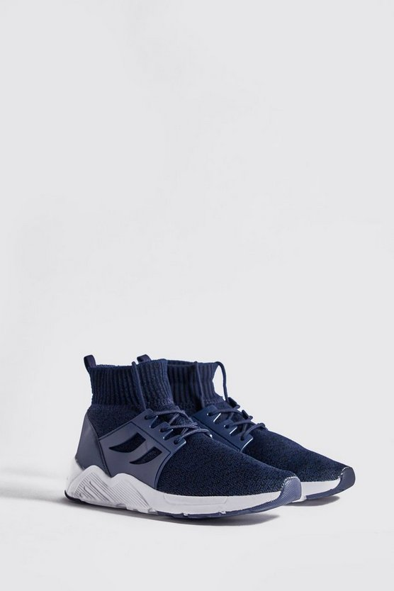 Navy Knitted Sock Trainer