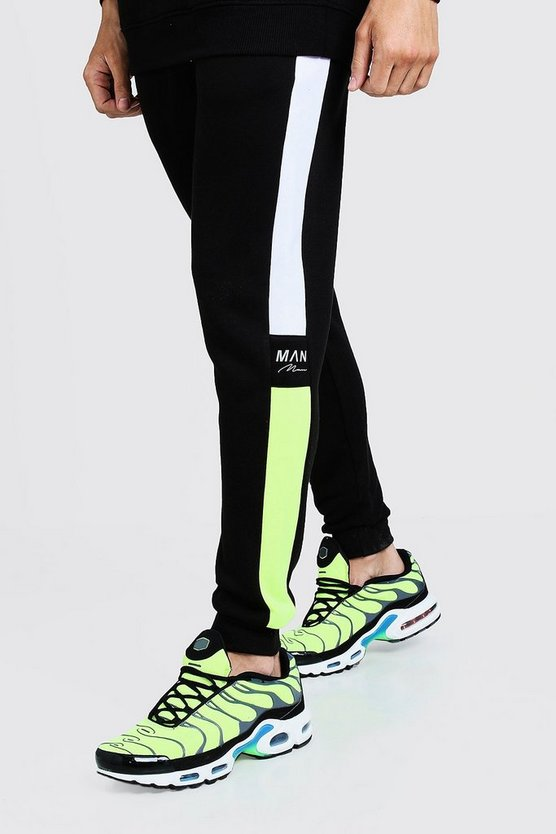 Green Side Panel Reflective Man Skinny Joggers
