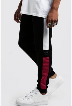 Mens Pink Side Panel Reflective Man Skinny Joggers