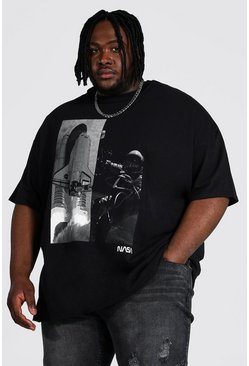 Black Plus Size Nasa Space Spliced License T-shirt