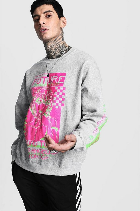 Sound Tour Graphic Print Oversized Sweatshirt