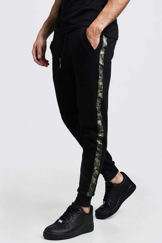 Black Camo Side Tape Skinny Fit Jogger