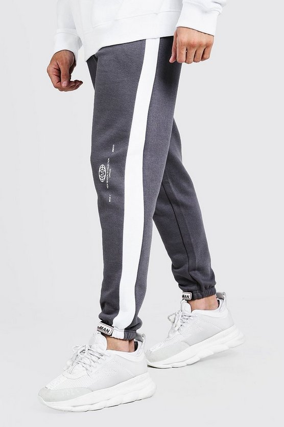 Mens Grey Side Panel MAN Velcro Cuffed Jogger