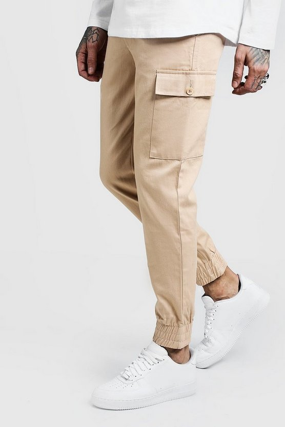 Mens Stone Cuffed Cargo Pants In Slim Fit