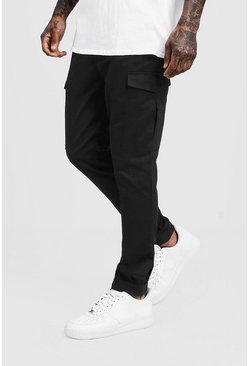 Mens Black Skinny Fit Cargo Pants With Velcro Cuff