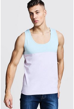 Mens Blue Regular Colour Block Jersey Vest