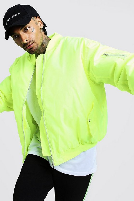 Mens Neon-yellow Oversized Padded MA1 Bomber Jacket