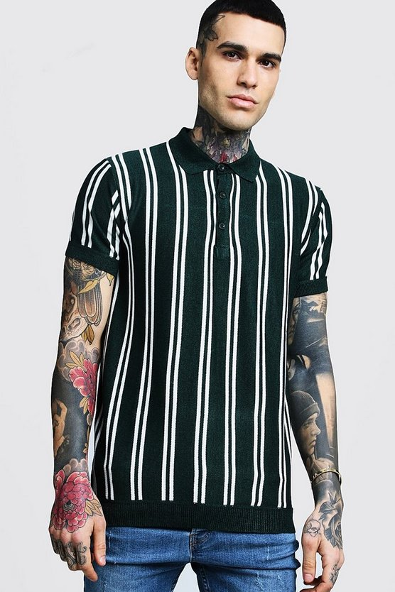 Vertical Stripe Short Sleeve Polo