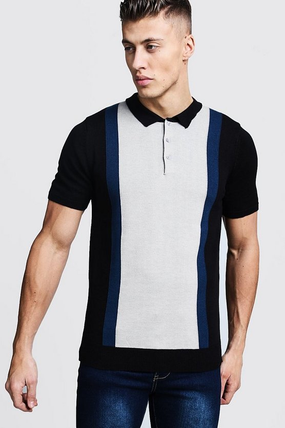 Black Colour Block Knitted Short Sleeve Polo