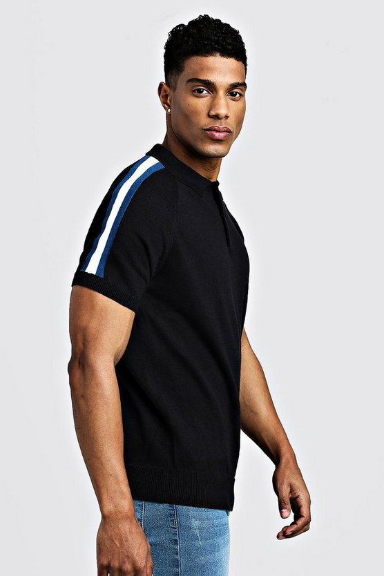Mens Black Arm Stripe Short Sleeve Polo