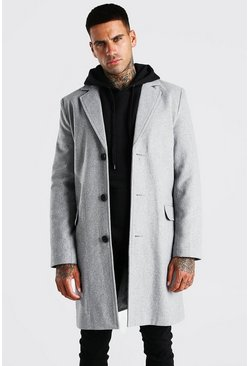 Grey Single Breasted Wool Mix Overcoat