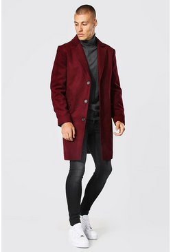 Burgundy Single Breasted Wool Mix Overcoat