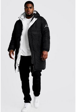 Mens Black Big & Tall Longline Reversible Puffer