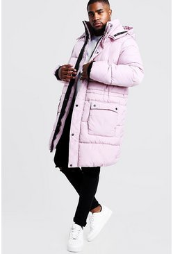 Mens Pink Big & Tall Hand Filled Longline Arctic Puffer