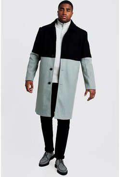 Mens Black Big & Tall Wool Look Colour Block Coat