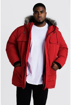 Mens Red Big & Tall Faux Fur Hooded Arctic Parka