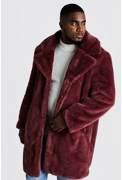 Mens Pink Big & Tall Faux Fur Overcoat