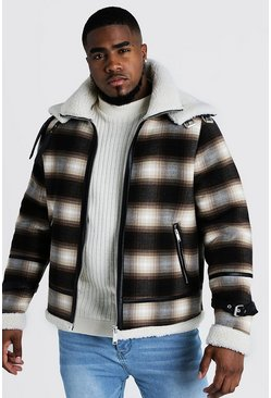 Mens Brown Big & Tall Double Collar Check Flight Jacket