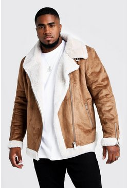 Mens Tan Big & Tall Faux Fur Lined Suede Aviator