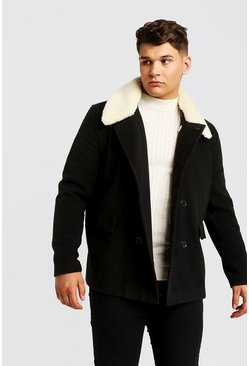 Mens Black Big & Tall Borg Collar Wool Blend Pea Coat