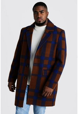 Tobacco Big And Tall Large Check Overcoat