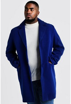 Mens Cobalt Big & Tall Single Breasted Wool Mix Overcoat