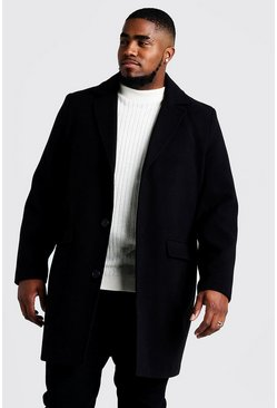 Mens Black Big & Tall Single Breasted Wool Mix Overcoat