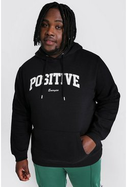 Black Plus Size Positive Slogan Print Hoodie
