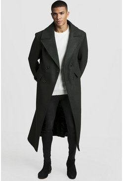 Khaki Longline Oversized Double Breasted Overcoat
