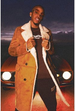 Tan Faux Suede Borg Lined Overcoat