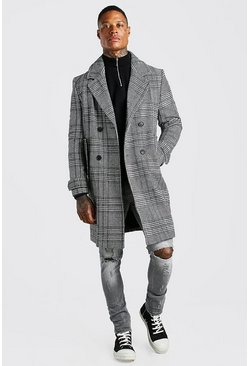 Mens Black Check Double Breasted Wool Mix Overcoat