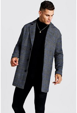 Mens Black Prince Of Wales Check Wool Look Overcoat