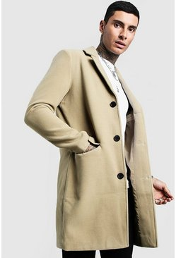 Mens Sage Single Breasted Wool Mix Overcoat