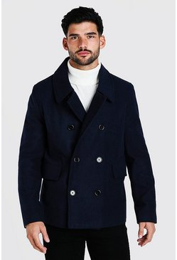 Mens Navy Classic Wool Look Pea Coat