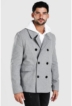 Mens Grey Classic Wool Look Pea Coat