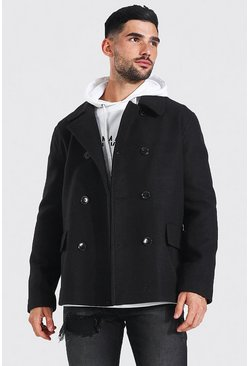 Black Classic Wool Look Pea Coat