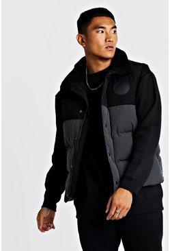 Mens Grey Hand Filled Sleeveless Puffer
