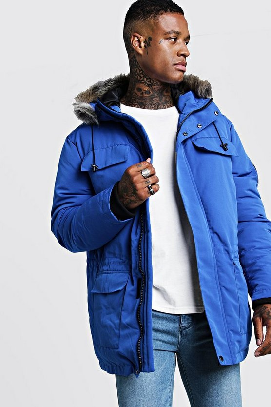 Mens Cobalt Faux Fur Hooded Arctic Parka