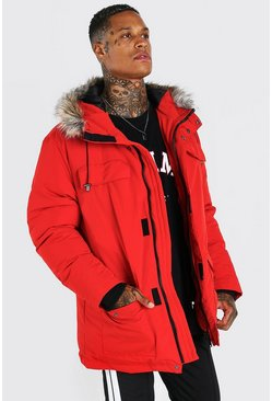 Mens Red Faux Fur Hooded Arctic Parka
